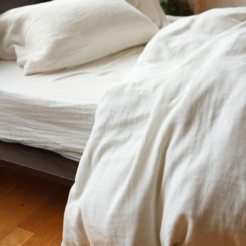 ワッフル織り ホワイト色 コンフォーターカバー お部屋で使用した様子