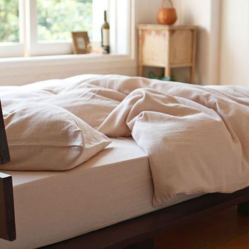 ワッフル織り ホワイト色 コンフォーターカバー 1年中快適にご利用いただける素材感