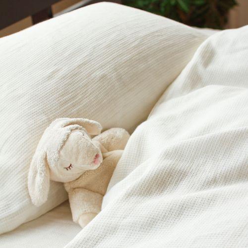 ワッフル織り ホワイト色 コンフォーターカバー お部屋で使用した様子2