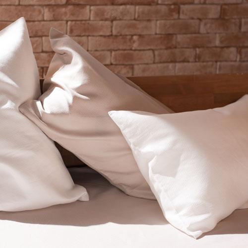 ワッフル織り ホワイト色 コンフォーターカバー 色違いのストーン色のピローケース