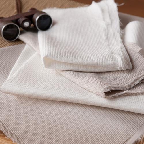ワッフル織り ホワイト色 素材感