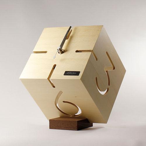 アートな木製時計,ダイス,シナクリア