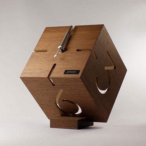 アートな木製時計,ダイス,シナブラウン