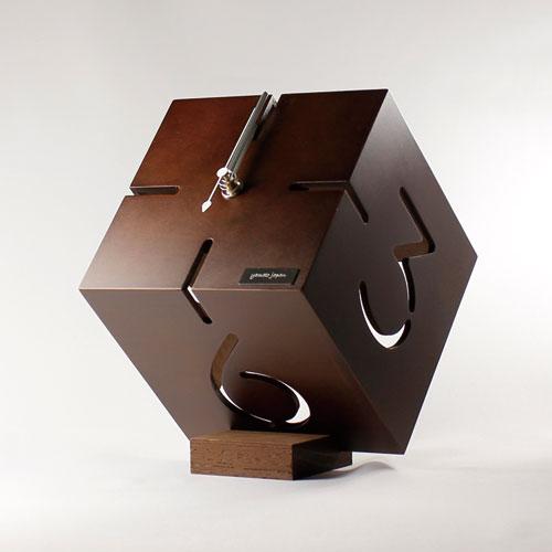 アートな木製時計,ダイス,ウォールナット