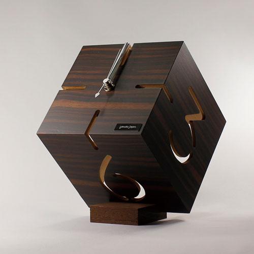 アートな木製時計,ダイス,黒檀