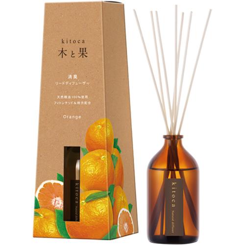 天然ルームフレグランス「木と果」,オレンジ,シックなブラウンのボトル