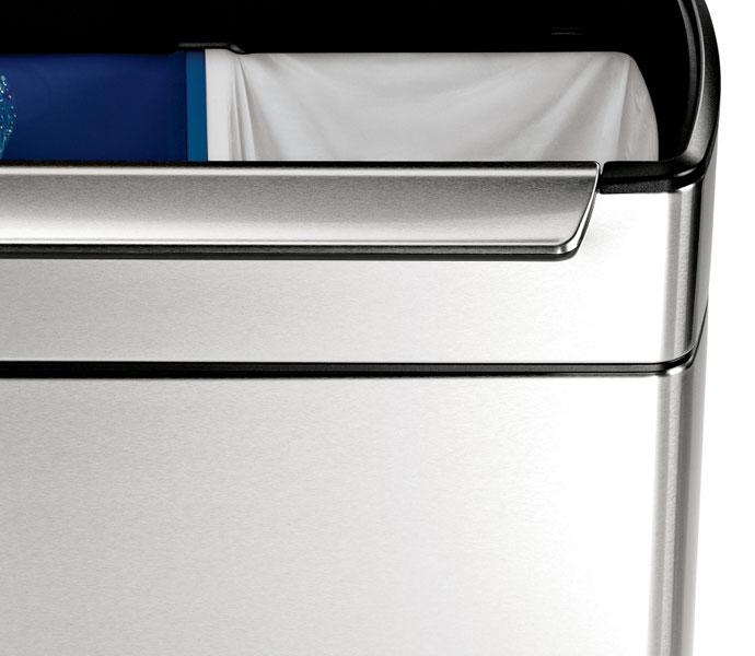 タッチバーダストボックス分別タイプ48L | simplehuman | 指紋や汚れが付きにくい