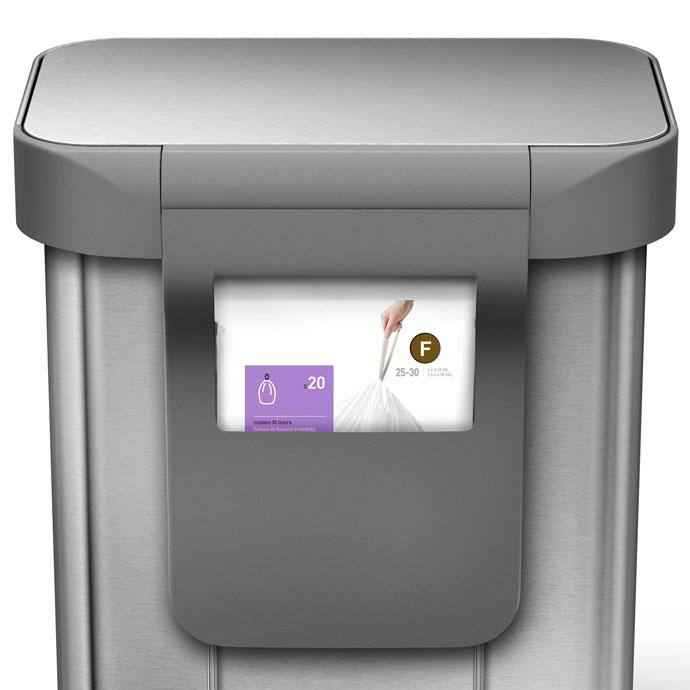 レクタンギュラ—ステップダストボックス30L | simplehuman | ゴミ袋収納用ポケット付き