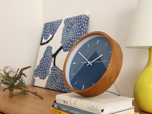 Paint Clock,ペイントクロック,ネイビー,卓上用に嬉しいスタンド付き
