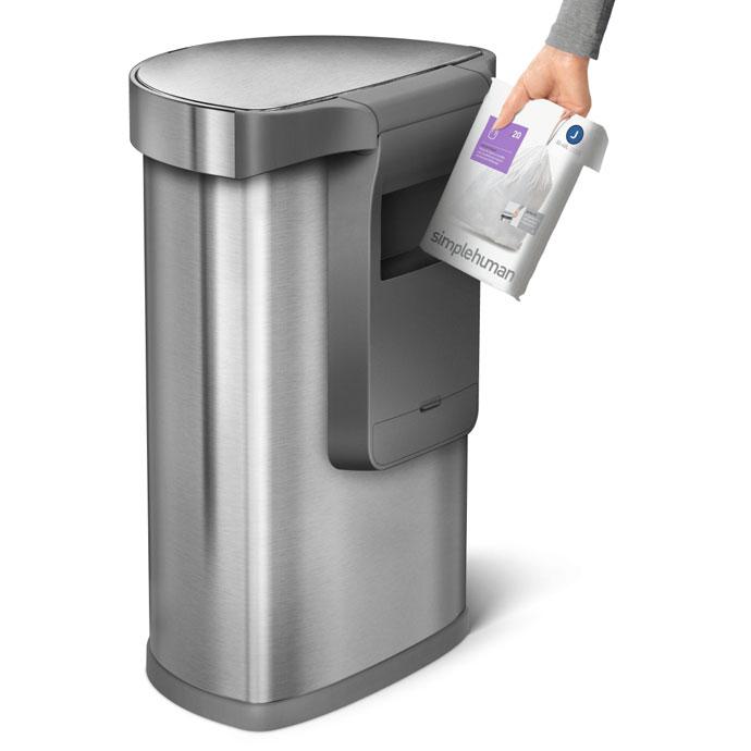 セミラウンドセンサーダストボックス45L | simplehuman | ゴミ袋収納用ポケット付き