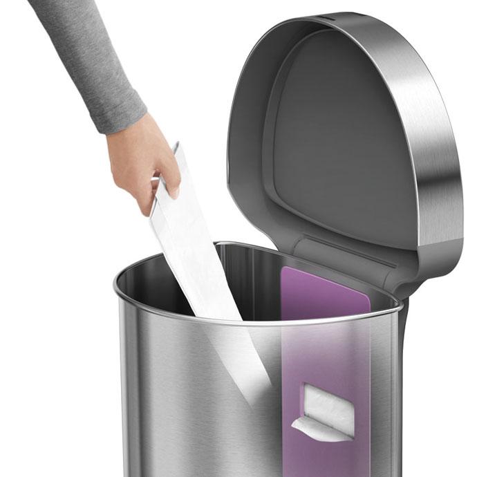 セミラウンドセンサーダストボックス45L | simplehuman | 本体内側からゴミ袋を取り出せます
