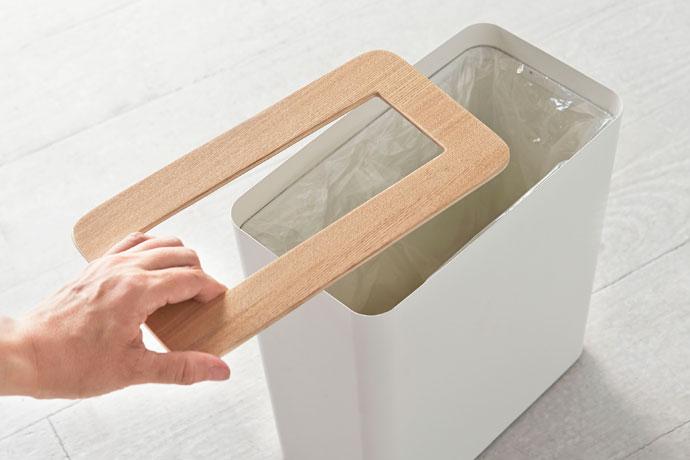 上質デザインの蓋付きダストボックス | 角型 | ゴミ袋のストッパーリング付き