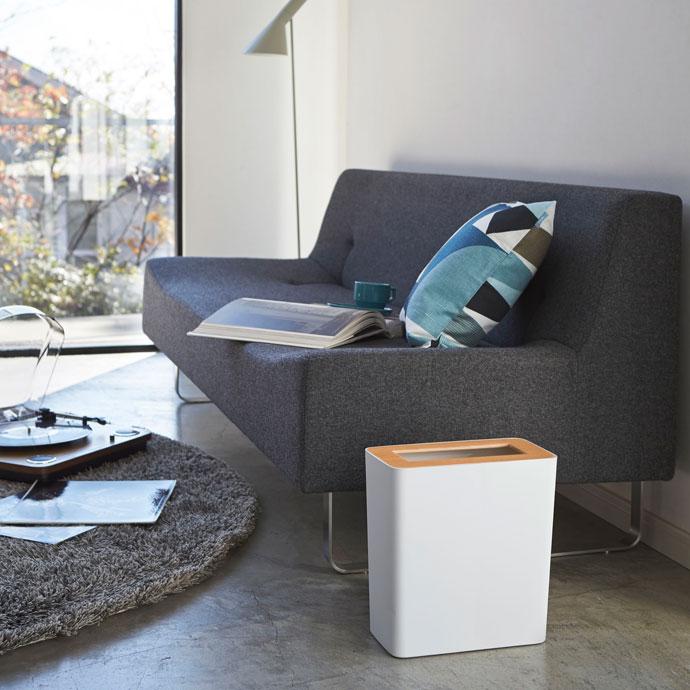 上質デザインの蓋付きダストボックス | 角型 | 明るい雰囲気のお部屋にホワイト