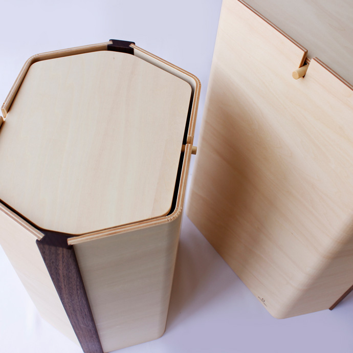曲げ木で作った六角形のダストボックス   hexagon   ヤマト工芸   匠の技術から生まれた六角形