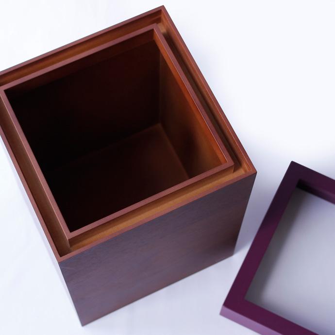 ウォールナットのダストボックス/キューブ | MODERN DUST CUBE | ヤマト工芸 | 袋が隠れる上蓋付き