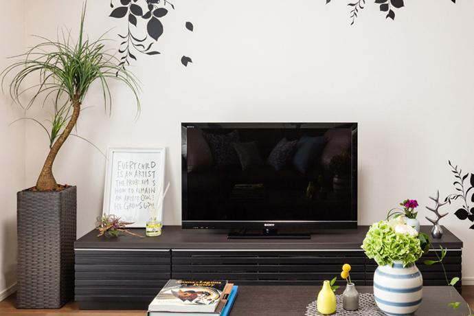 お手入れ不要!,フェイクグリーンセット,ノリナ,TVボードの横に,スタイリッシュな雰囲気