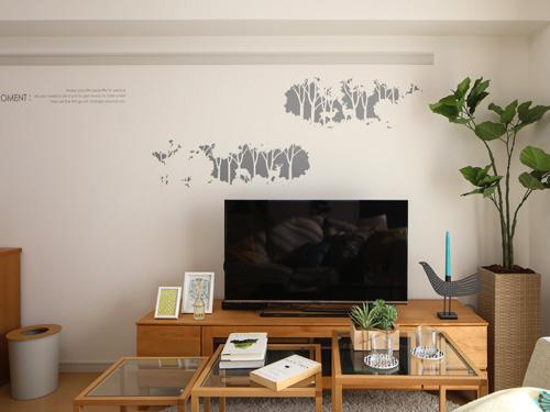 ウォールステッカー,鹿の森,グレー,白の壁にちょうど良い色合い