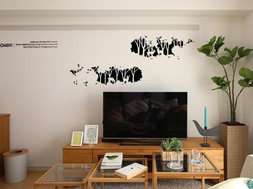 ウォールステッカー,鹿の森,ブラック,白壁とのコントラストがはっきり