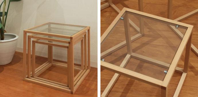 ガラス天板のネストテーブル,コンパクトに収納