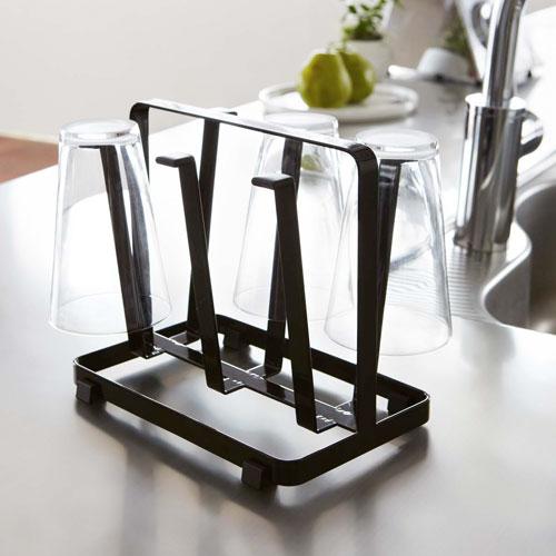 シンプルデザインのグラススタンド/ブラック