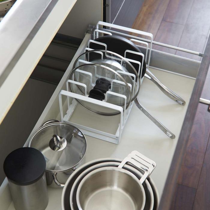 これですっきり!,フライパン&鍋蓋スタンド,ホワイト,使いやすい立てる収納