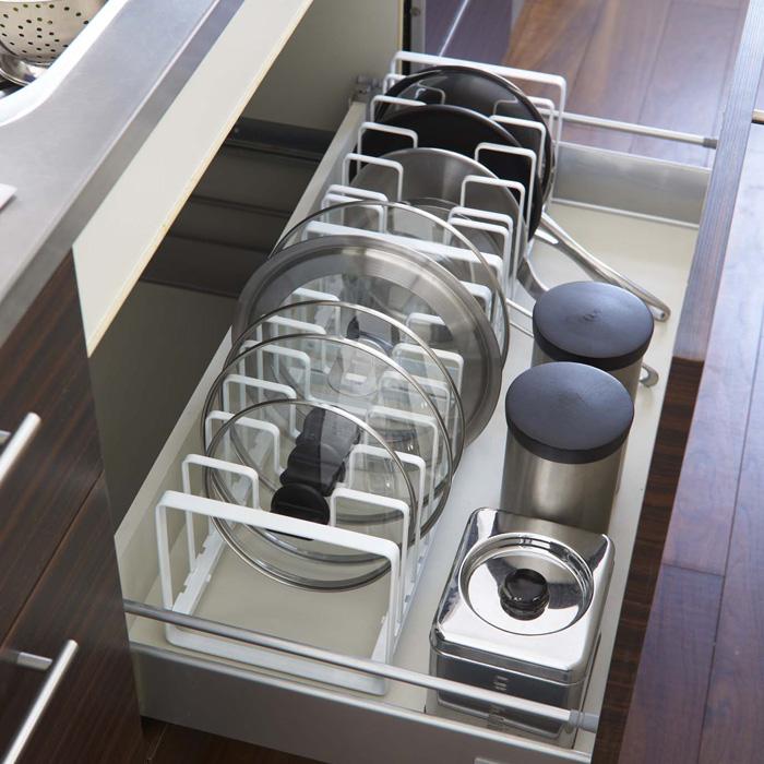 これですっきり!,フライパン&鍋蓋スタンド,ホワイト,2台並べれば収納力バツグン