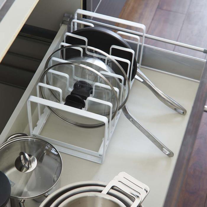 これですっきり!,フライパン&鍋蓋スタンド,ホワイト,スチール製で丈夫,重いアイテムもお任せ