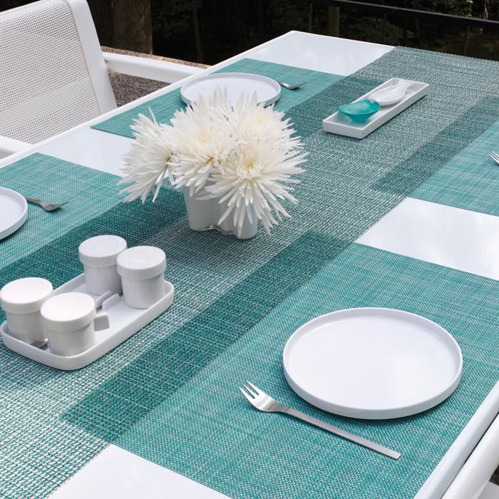 ランチョンマット,ミニバスケットウィーブ,ターコイズ,白い食器が栄える,明るく華やかな印象に
