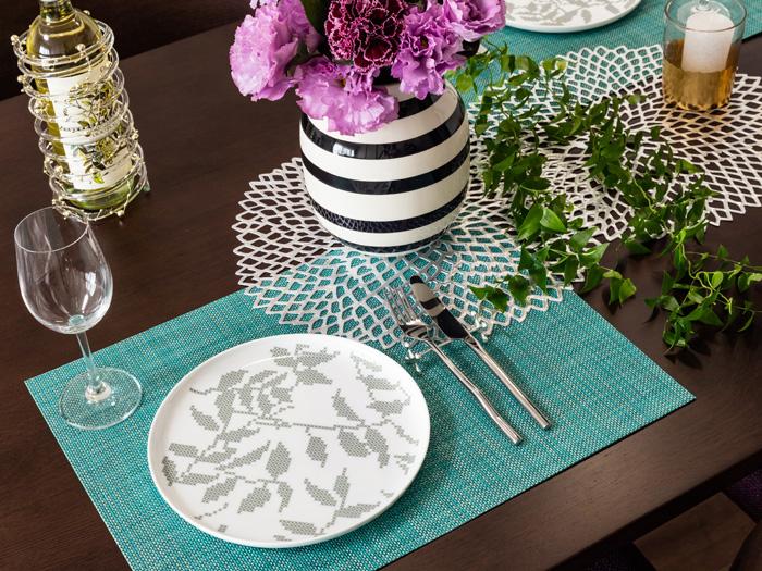 ランチョンマット,ミニバスケットウィーブ,ターコイズ,おしゃれで素敵なテーブルに,食卓と調和します
