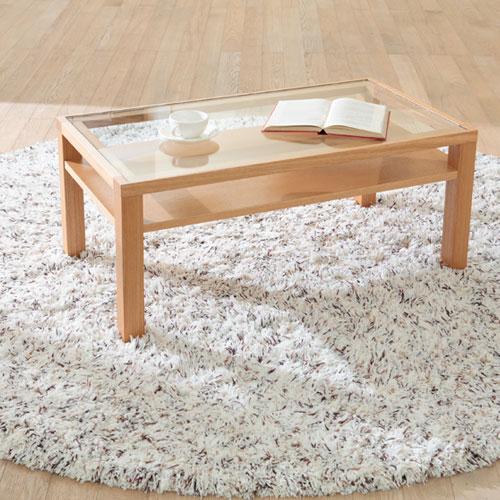 BUENOリビングテーブル ナチュラル ガラス天板
