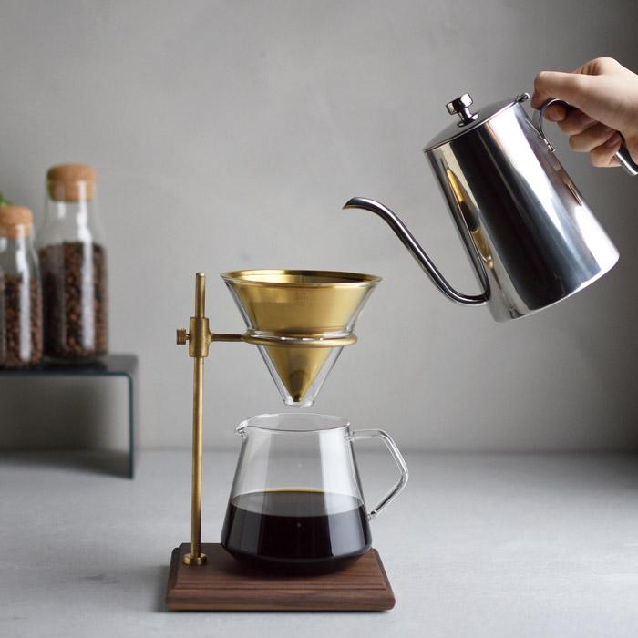 Genuineコーヒーポット,傾けても蓋が落ちない,ステンレス製で直火OK