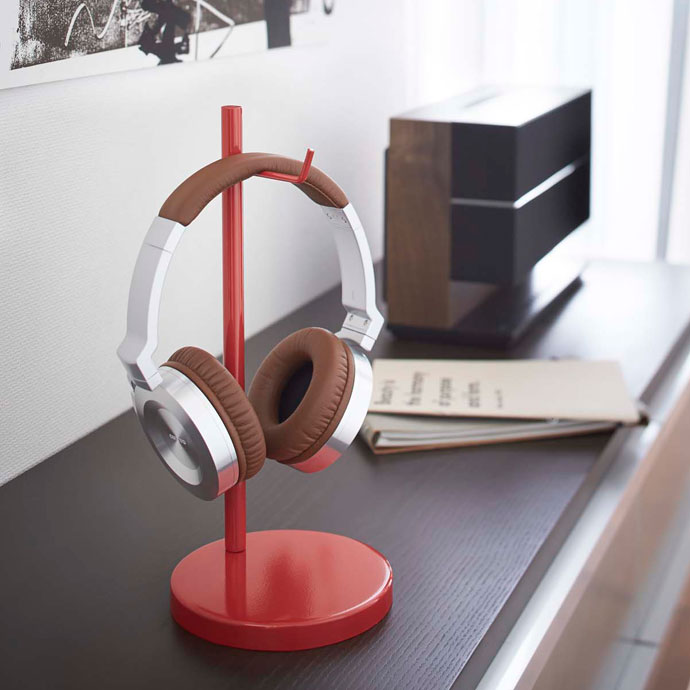 モダンクールなヘッドホンスタンド | お部屋のアクセントに最適なレッド