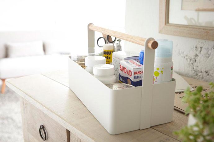 白いハンディツールボックス | 小物を美しくスマートに収納