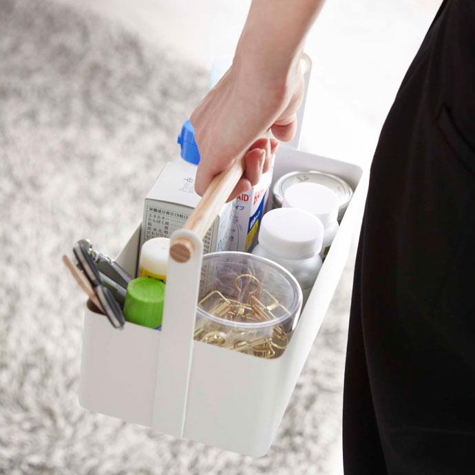 白いハンディツールボックス | 持ち手付きで持ち運び楽々
