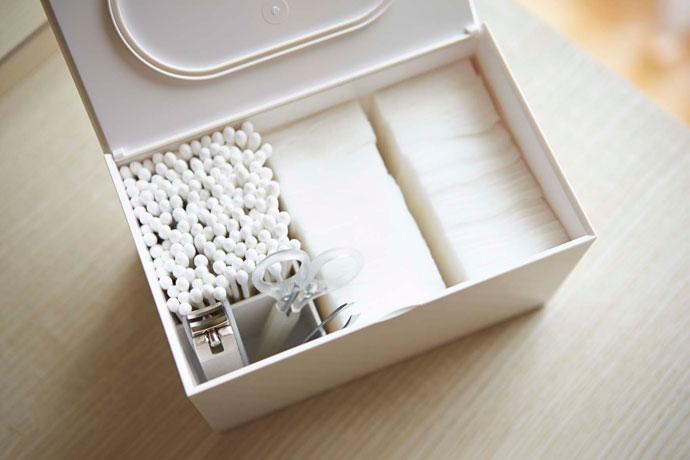 光沢が美しいコットン&綿棒ケース | 3つのブロックで整理整頓に便利