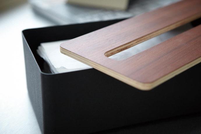 上質デザインの蓋付きティッシュボックス | 美しい木目の蓋