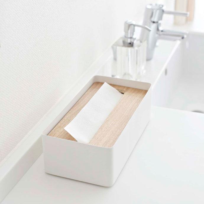 上質デザインの蓋付きティッシュボックス | ペーパータオルを入れて洗面所に