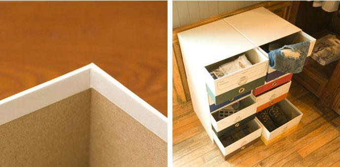 こだわりの紙製収納BOX,ホワイト,一辺約4mmの厚さで丈夫