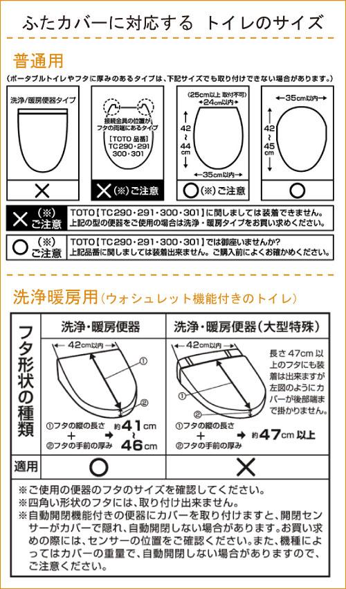 ふたカバーに対応するトイレのサイズ
