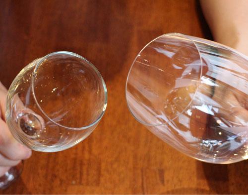 グラスの淵の厚みの違い