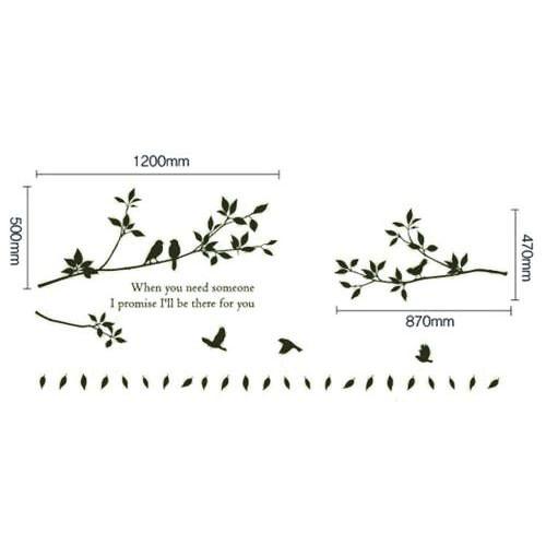 鳥と木の枝のウォールステッカー