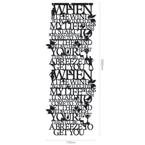 ポスターのような文字型のファブリックアート