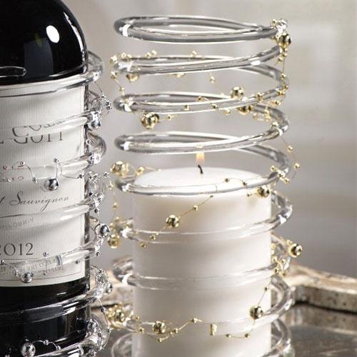 ドレスアップボトルホルダー,らせん状のガラス,ビーズをあしらって華やかに
