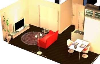 大好きな赤色とデザイナーズチェアで個性が光るお部屋