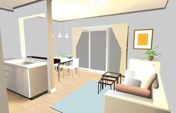 白×パステルカラーの女性らしいお部屋