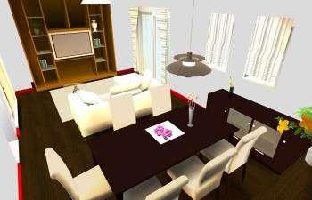 大型収納とシンプルな家具で、すっきりとした部屋