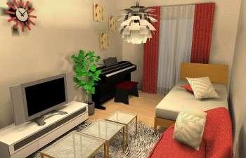 赤色をテーマカラーにしたセカンドハウスのお部屋