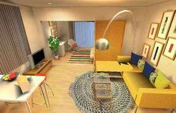カラフルで明るい色を使ったモダンなお部屋