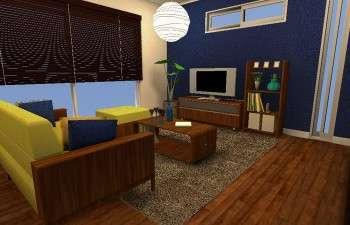 ネイビーの壁紙をワンポイントにした、和モダンスタイルのお部屋