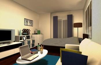 カラーでカジュアルさを加えた、シンプルモダンのお部屋
